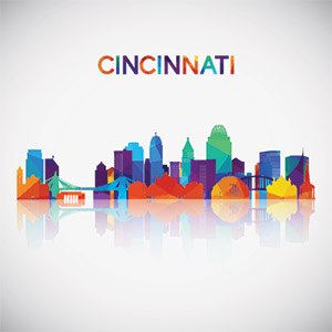 The colorful Cincinnati skyline reflects the diversity of the city