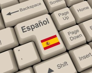A Spanish keyboard with a Spanish translation key option