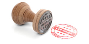 A certified translation stamp marking a translated document